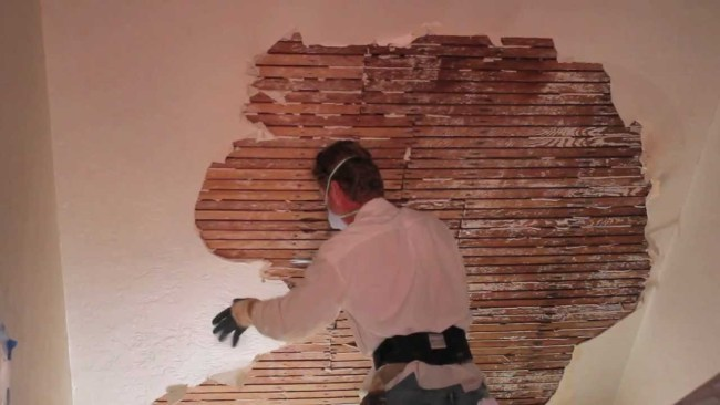 Remove and repair interior plaster walls or ceilings