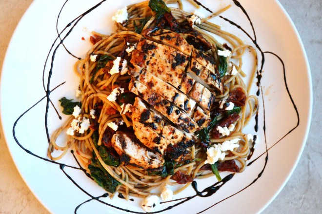 Sun Dried Tomato Pasta with Goat Cheese and Chicken