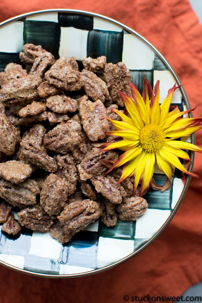 Crunchy, sweet and spicy Candied Pecans. These are delicious! #stuckonsweet #recipe #appetizer
