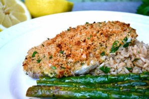 lemon and parmesan panko crusted halibut