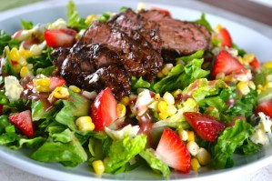Steak Salad with Roasted Corn, Strawberries, and Blue Cheese