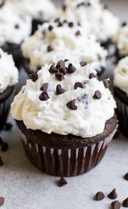 Chocolate Cupcakes with Whipped Chocolate Chip Frosting