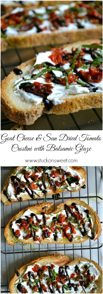 Goat Cheese & Sun Dried Tomato Crostini with Balsamic Glaze   www.stuckonsweet.com