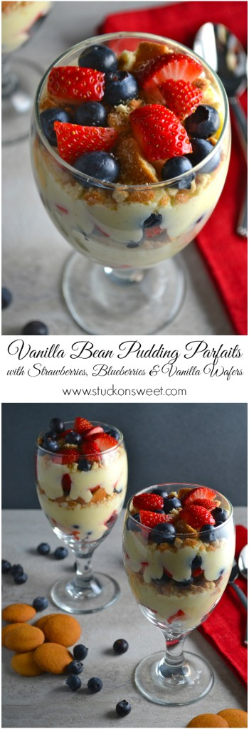 Vanilla Bean Pudding Parfaits with Strawberries, Blueberries & Vanilla Wafers | www.stuckonsweet.com