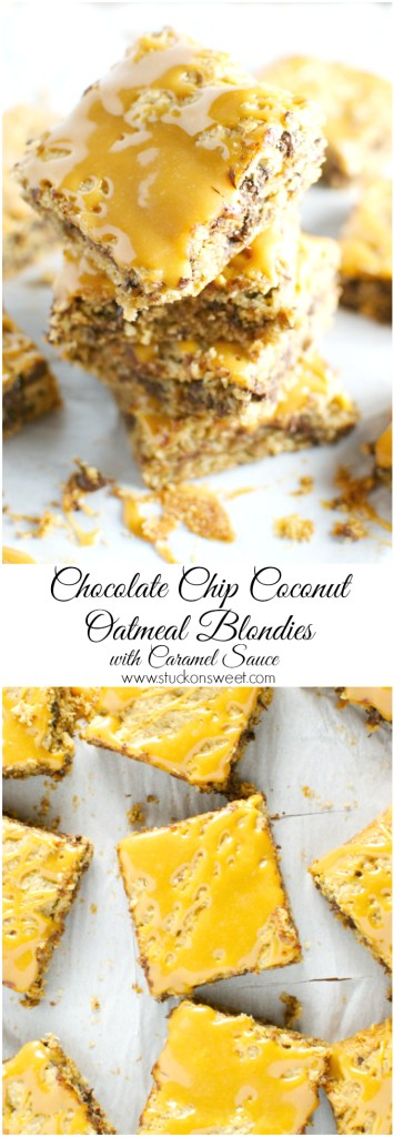 Chocolate Chip Coconut Oatmeal Blondies with Caramel Sauce | www.stuckonsweet.com