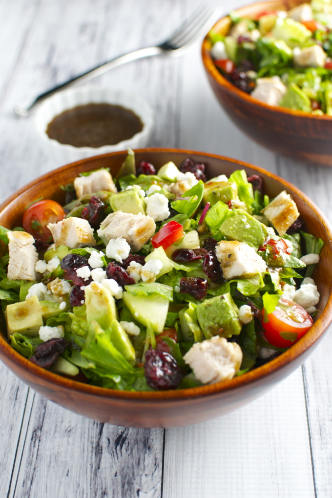 Italian Chicken Salad with Vegetables, Cranberries and Goat Cheese | stuckonsweet.com