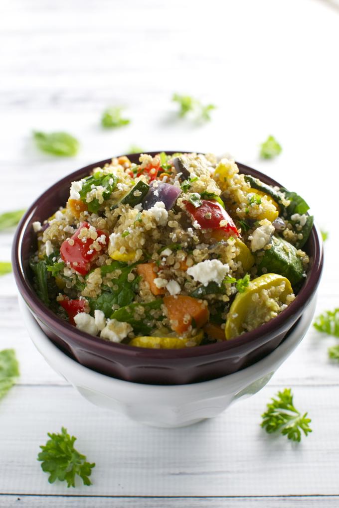Roasted Vegetable Qunioa Salad   stuckonsweet.com