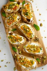 Goat Cheese and Apricot Crostini   stuckonsweet.com