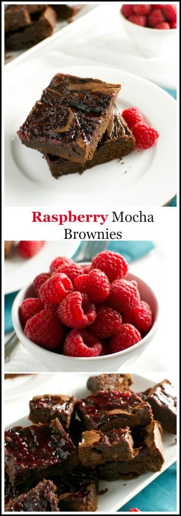 Raspberry Mocha Brownies | stuckonsweet.com