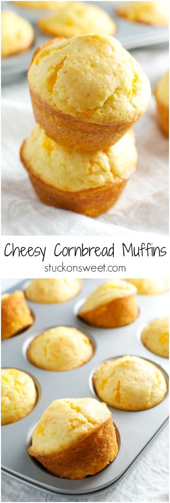 Cheesy Cornbread Muffins | stuckonsweet.com