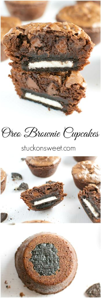 Oreo Brownie Cupcakes. Use cake mix to make these extra easy to make! | stuckonsweet.com