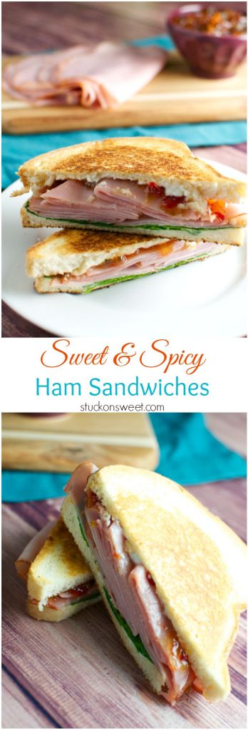 Sweet and Spicy Smoked Ham Sandwiches | stuckonsweet.com