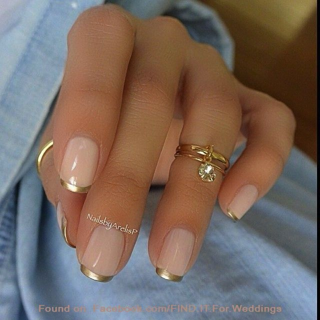 pink and gold tipped nails