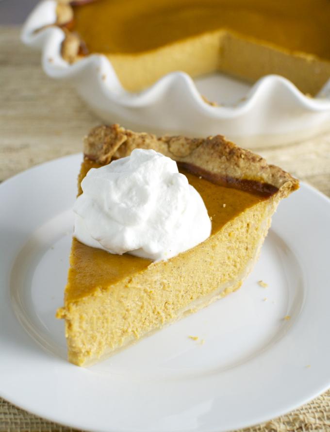 Pumpkin Pie with Maple Whipped Cream | stuckonsweet.com