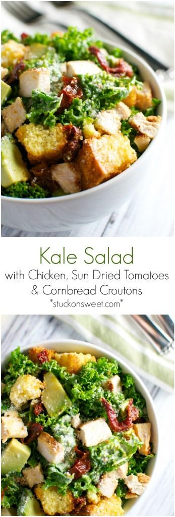 Kale Caesar Salad with Chicken, Sun Dried Tomatoes, Avocado, and Cornbread Croutons | stuckonsweet.com