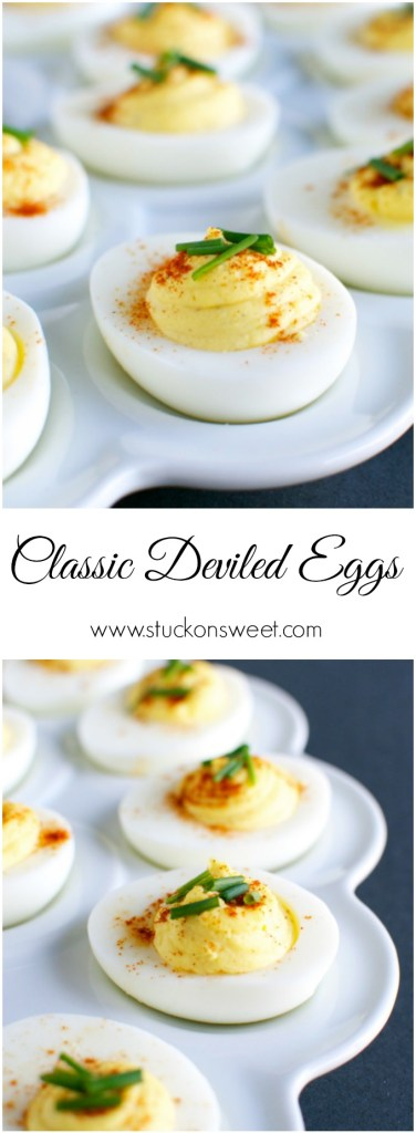 Classic Deviled Eggs Recipe. These are perfect for your Easter menu or any party duing the year! | www.stuckonsweet.com