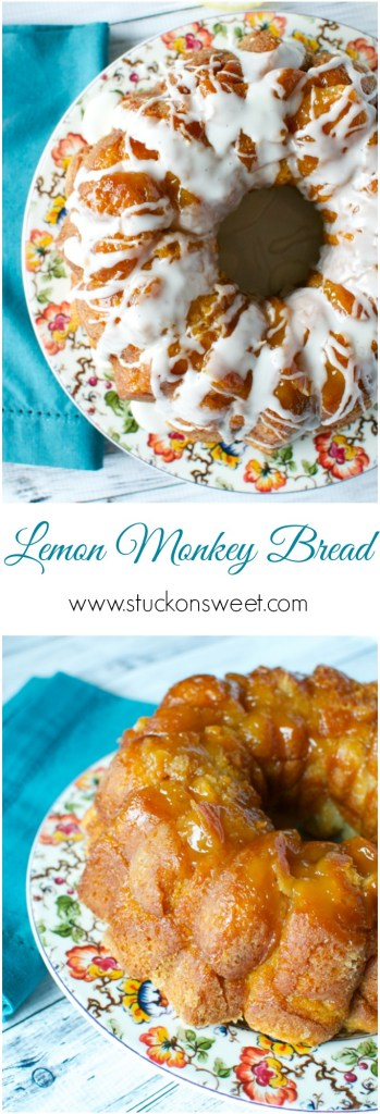 Lemon Monkey Bread. Sticky and Gooey biscuit dough is rolled in lemon sugar, doused with butter then topped with a lemon glaze. This is a winner! | www.stuckonsweet.com