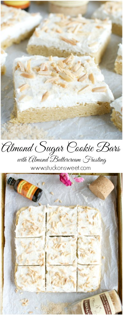Almond Sugar Cookie Bars with Almond Buttercream Frosting | www.stuckonsweet.com