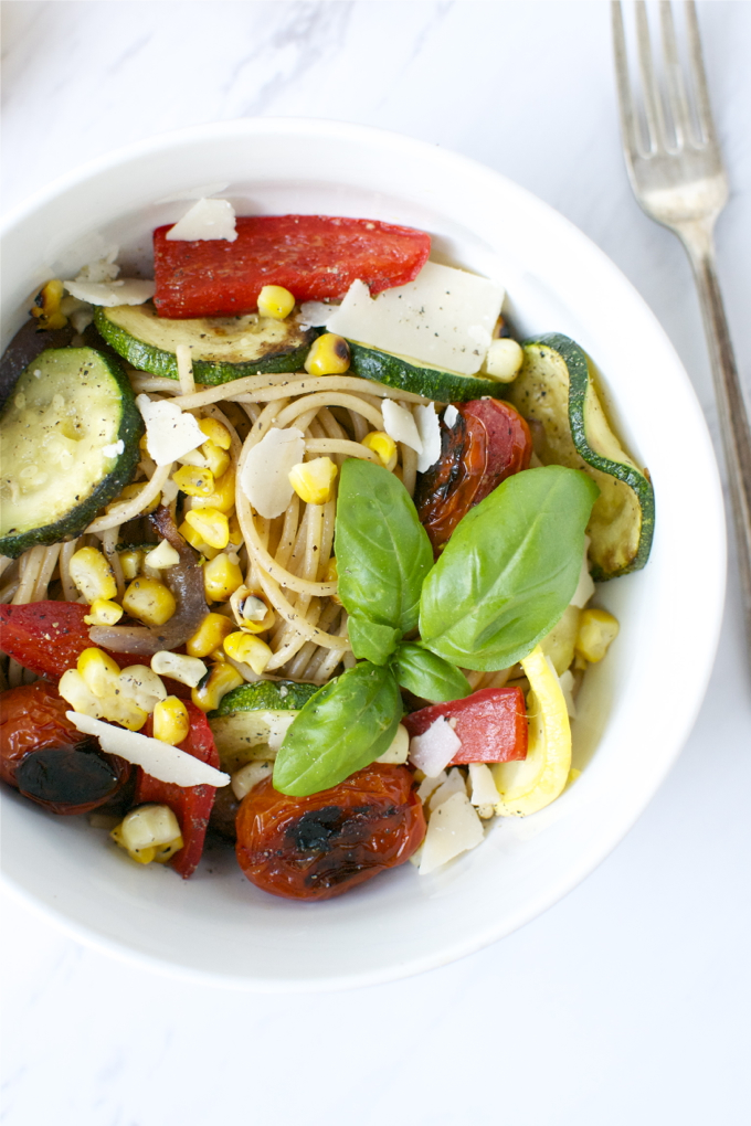 Grilled Summer Vegetable Pasta |www.stuckonsweet.com