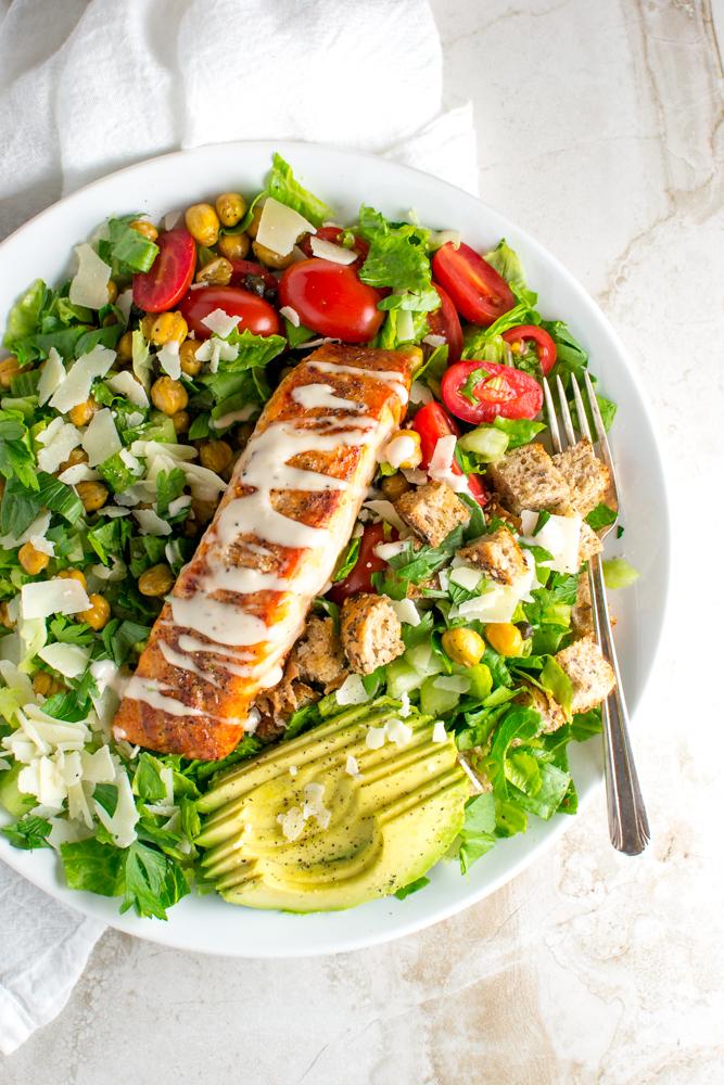 Salmon Caesar Salad | www.stuckonsweet.com