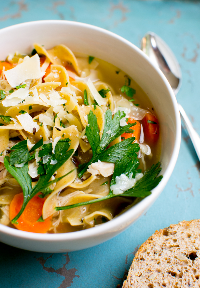 Slow Cooker Chicken Noodle Soup | www.stuckonsweet.com