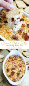 Sweet Onion Dip with Crunchy Bacon Bits | www.stuckonsweet.com