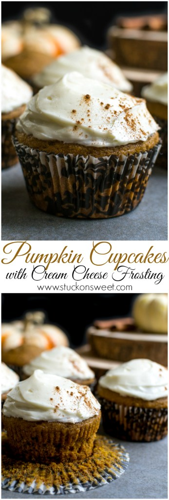 Pumpkin Cupcakes with Cream Cheese Frosting   www.stuckonsweet.com