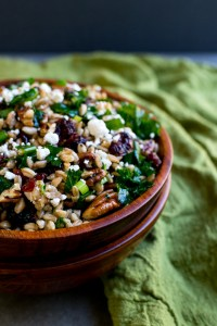 Festive Fall Farro Salad with Kale, Cranberries, Pecans & Goat Cheese