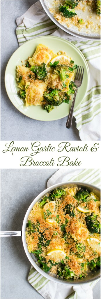 Lemon Garlic Raviolo and Broccoli Bake