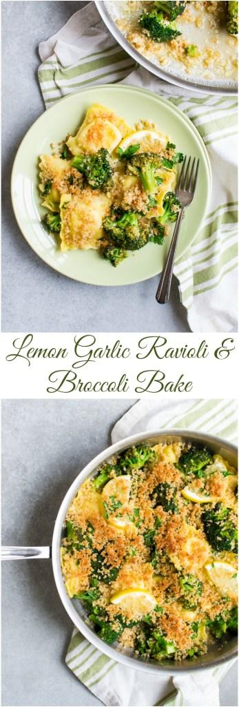 Lemon Garlic Raviolo and Broccoli Bake