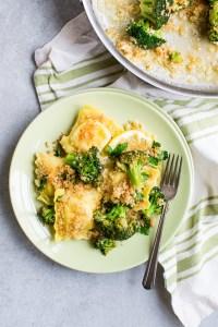 Lemon Garlic Ravioli and Broccoli Bake