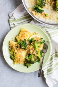 Lemon Garlic Ravioli and Broccoli Bake