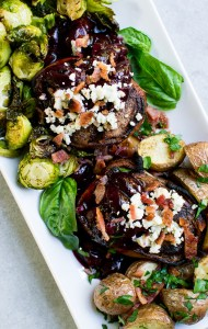 Bacon Wrapped Filet Mignon with Blue Cheese and Cherry Sauce