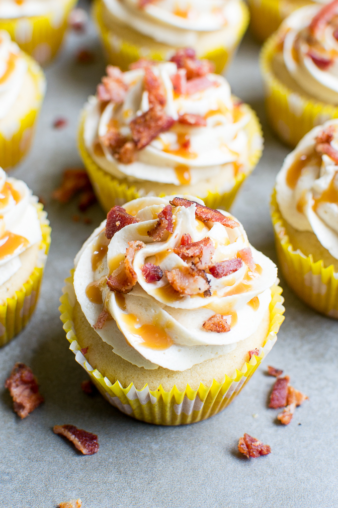 Salted Caramel Bacon Cupcakes