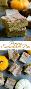 Pumpkin Snickerdoodle Bars - the best dessert recipe for the Fall! Soft, chewy and the perfect balance on pumpkin and cinnamon! | www.stuckonswseet.com