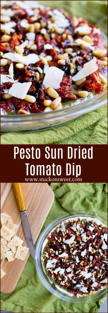 Pesto Sun Dried Tomato Dip is the perfect Christmas appetizer!