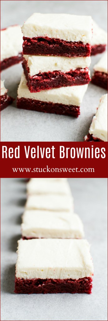 The most amazing brownies ever! These Red Velvet Brownies with WHIPPED FROSTING ARE TO DIE FOR. They are perfect for Valentine's Day Dessert!