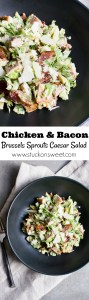 Brussels sprouts caesar salad with chicken and bacon is my new favorite recipe for lunch!