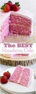 The BEST strawberry cake there is. It's velvety and melt in your mouth! My husband loved this cake!