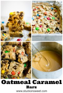 Oatmeal Caramel Bars are so amazing. An oatmeal cookie dough is baked with a layer of caramel, chocolate chips and m&ms! #stuckonsweet #cookies #recipe #dessert