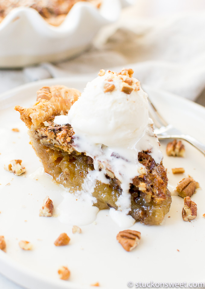 Pecan Pie with Ice Cream