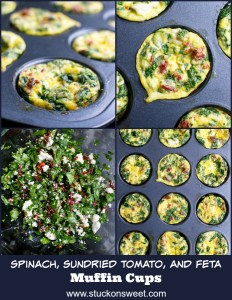 Egg Muffins Cups are an easy way to have breakfast on the go! These are made with spinach, tomatoes and feta cheese. #stuckonsweet #breakfastrecipes #healthyrecipes