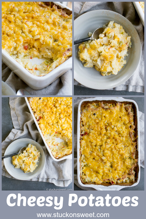 Cheesy Potatoes is a delicious casserole recipe I've been making for years! It's the perfect side dish to any meal! #stuckonsweet #cheesypotaotes #casserole #sidedishrecipe