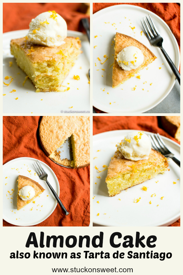 Best ever Almond Cake - inspired from Spain this cake is ridiculously good. One fo my favorite desserts! #stuckonsweet #recipe #almondcake #dessert