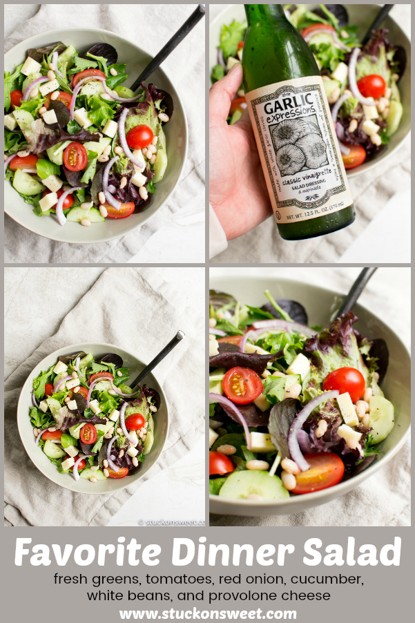 Favorite Dinner Salad - love this salad as a side ditto any dinner. Such a great recipe. #stuckonsweet #salad #dinner #recipe