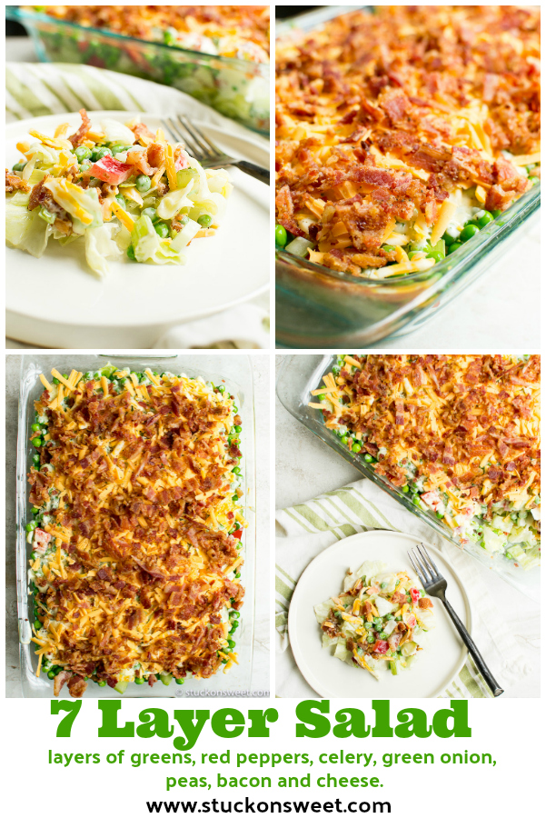 7 layer salad - a classic salad recipe that works with all types of meals! #stuckonsweet #salad #recipe