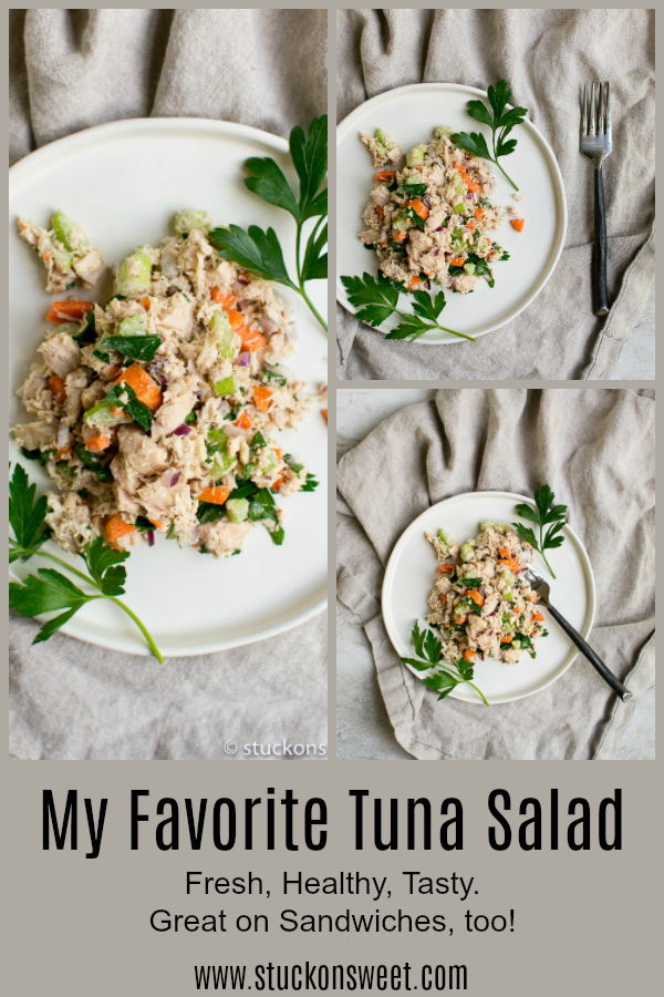 My favorite tuna salad recipe. Great on sandwiches and in tuna melts! #stuckonsweet #recipe #salad