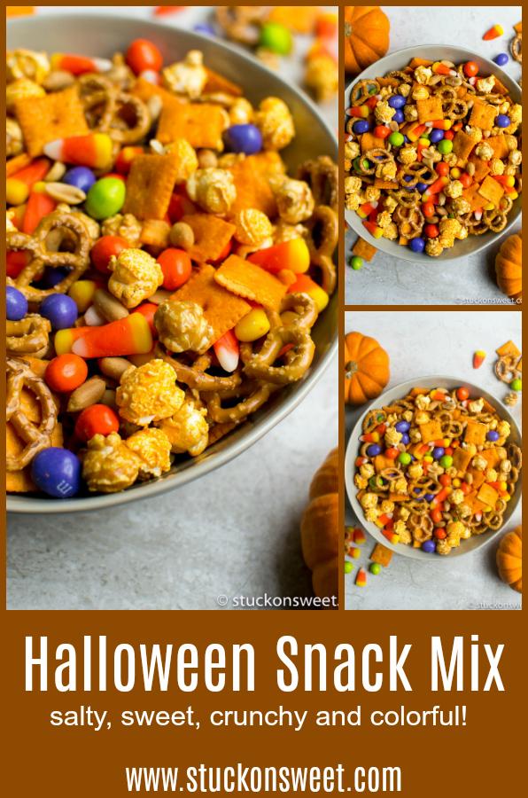 Halloween Snack Mix - the perfect Halloween party appetizer/snack! #stuckonsweet #snacks #halloween #partymix