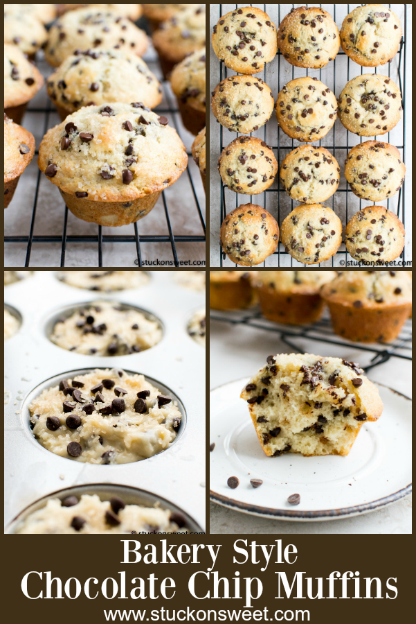 Bakery Style Chocolate Chip Muffin Recipe - BEST muffins out there! #stuckonsweet #muffin #recipe #chocolate
