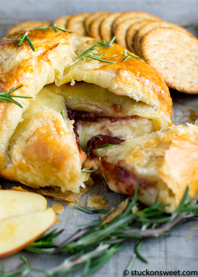 Baked Brie with raspberry rosemary jam